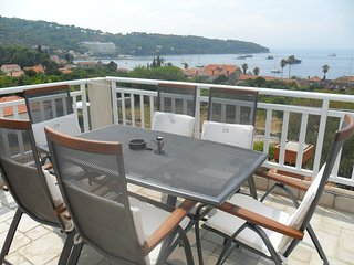 Attractive island apartment, private balcony with sea view over whole island