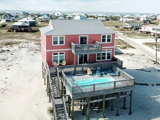 5 Bedroom Gulfside Beach House with Private, Heated Pool and Game Room
