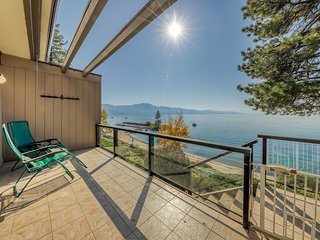 Lakefront home w/ beach access, dock, and beautiful views of water & mtns!