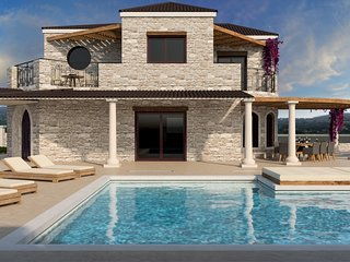 Secluded Private Stone Villa sat atop natural valleys of Lythakia and Agalas