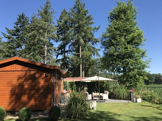 Chalet in holiday park with spacious living room, large enclosed garden and unob