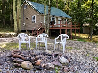 Cozy hilltop cabin nestled in the trees w/ deck, lake view & firepit!