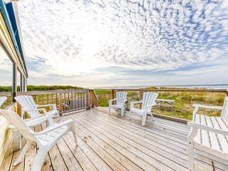 Dog-friendly, oceanfront home w/ great views, a private hot tub, & beach access