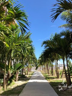 Private path to the pol and direct access to the beach
