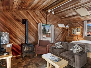 Rustic, dog-friendly cabin with kitchen, private hot tub & easy ski access!