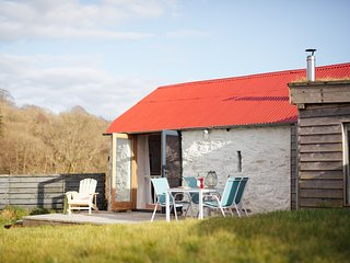 The Dairy Shed- barn nr. Aberaeron with a secret cabin bedroom behind a bookcase