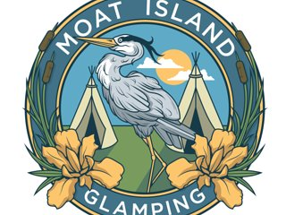 Moat Island Glamping in Norfolk. Luxury camping with a Natural swimming pond