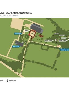 Plan of the farm including the hotel's reception (for collecting keys) and yurt 1 where you staying