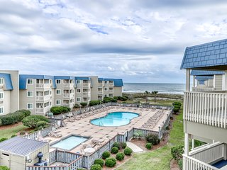 Oceanview condo with shared pool and oversized balcony, right next to the beach