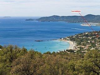 Le Lavandou, Appart6P ds maison vue mer, 200 plage, climatisation