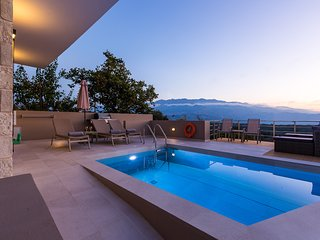 Upper view villa 2 with luxury, private pool, sleeps 8 guests