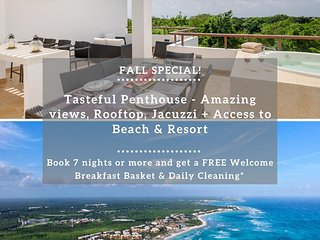 Tasteful Penthouse - Amazing views, Rooftop, Jacuzzi + Access to Beach & Resort