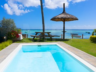 Caro's Beachfront with private Pool at Trou aux Biches beach ideal for families