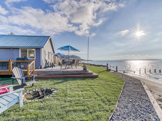 New listing! Family-friendly, beachfront home w/ furnished deck, firepit, & view