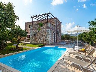 Villa Chryssa, stone villa with private pool in Neo Chorio village, Chania Crete