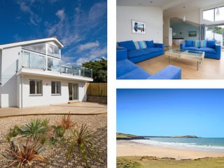 Contemporary House in New Polzeath Slps 8-9 in 4-5 Bedrooms, Sundeck & Sea View