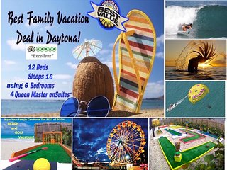 Voted Daytona's BEST FAMILY FUN in the SUN BEACH VACATION - 2 min walk to beach!