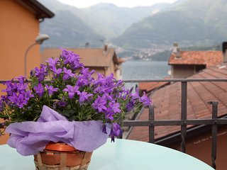Apartment with scenic views on blue waters of Lake Como and its green mountains.