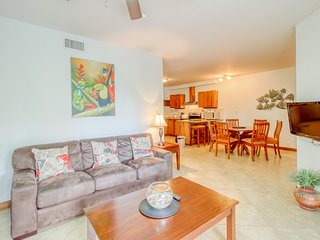 Tropical escape with a shared pool, plenty of room, & easy beach access