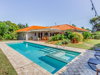 Walk to the beach! Lovely, dog-friendly home w/ a private pool, spa & yard!