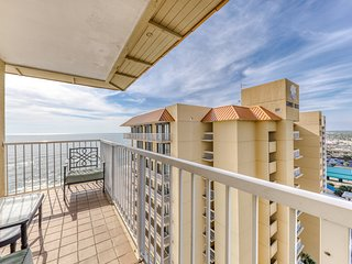 Gulf front condo w/ a deep corner balcony, beach view, shared pools, & gym