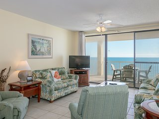 Gulf front condo w/ a private, furnished balcony, shared pools, hot tub, gym