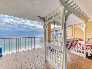 Waterfront condo w/ a private balcony, shared pools, hot tub, & fitness room