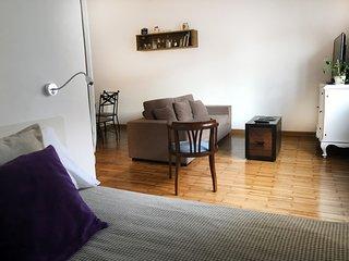Sleeping area and living room