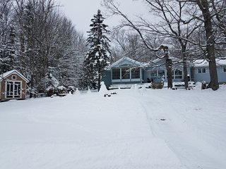 Winter view of cottage from lake