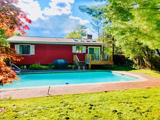 Heated inground pool fenced backyard Renovated House Pocono Retreat Great Revie