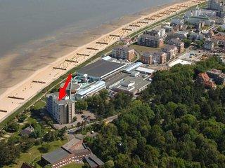 Kleines Apartment direkt am Strand in Cuxhaven-Duhnen mit Seesicht in der Ferne