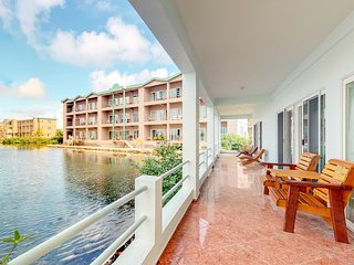 Family-friendly, lake view villa w/ balcony, shared pool, partial AC & free WiFi