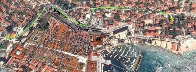 Localização do apartamento no mapa do centro de Dubrovnik