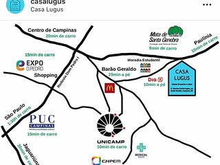 Somos uma pousada que fica perto das universidades UNICAMP, FACAMP, PUC
