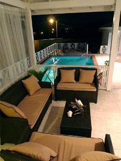 Pool at night from the patio