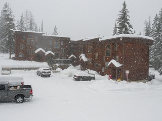 Mountain condo w/ fireplace and shared hot tub - walking distance to ski lifts!