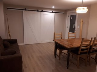 Living space with barn doors to den closed