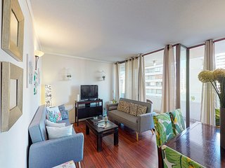 Dog-friendly condo with full kitchen, city views, and great location