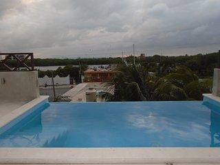 Departamento Flamingo, Rooftop con alberca y vista al mar.