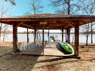 Huge waterfront cabin w/ private dock, play structure, & firepit - dog-friendly!
