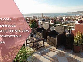 Appartement 80 m2 toit terasse vue panaromique sur l'ocean village berbere