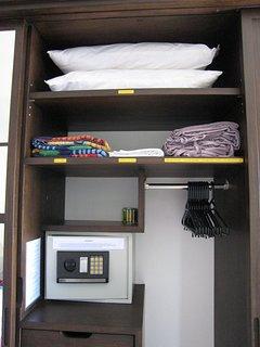 Extra pillows, beach towels, Safe Deposit Box, hangers, drawers...