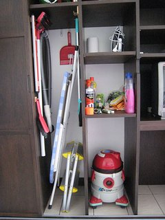 Iron, ironing board, vacuum cleaner, tools, chemicals.. all you need if you want to do some cleaning