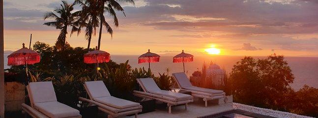view from villa umbrella sunset