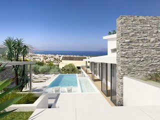 Private stone villa with indoor heated pool and seaview
