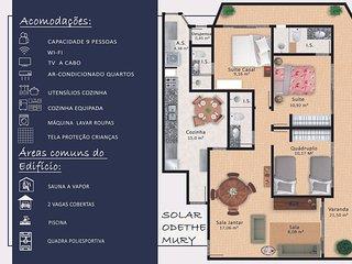 Espaçoso e confortável 3 quarto com Vista p/ Mar. Praia das Dunas
