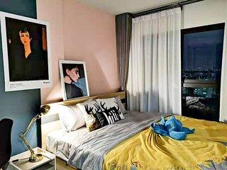 【hiii】Pink Bourbon*with Kitchen*10minTo Grand Palace&KhaoSanRd*MRT Bang Yi Khan