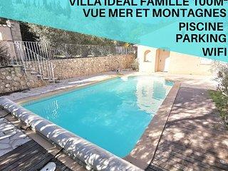Villa Idéal Famille,Vue Mer et montagne,Calme,Wifi,Parking,Piscine