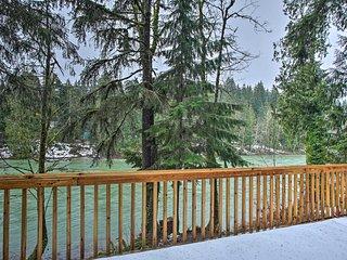 NEW! Rustic Riverside Cabin w/ Deck+Mountain Views
