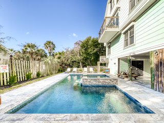 Ocean view home with a private indoor pool & hot tub only steps from the beach!